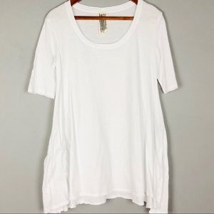 FREE PEOPLE Oversized Tunic Length Basic White Tee